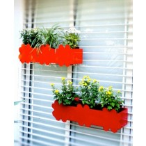 Set Of 2 Orange & Red MultiFlower Railing Planter