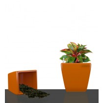 Set of 2 Orange Square Self Watering Plastic planter