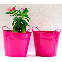 Set Of 2 Pink Round Galvanized Metal Planter