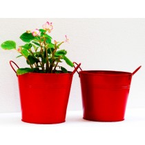 Set Of 2 Red Galvanized Metal Planter