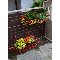 Set Of 2 Red & Yellow MS Railing Planter