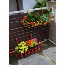 Set Of 2 Red & Yellow MS Railing Planter