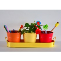 Set of 3 Galvanized Metal Planter With Tray