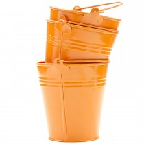 Set Of 3 Orange Galvanized Metal Planter