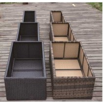 Set Of 3 PE Rattan Rectangular  Flower Pot