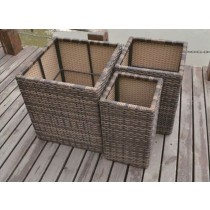 Set Of 3 PE Rattan Square Flower Pot