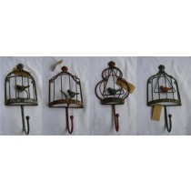 Set Of 4 Decorative Antique Bird Cage Metal Wall Hook
