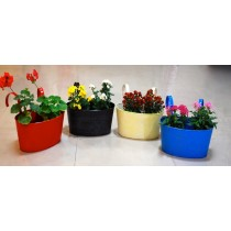 Set Of 4 Colored Galvanized Metal Railing Planter