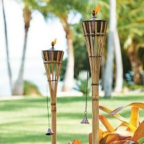 Set of Two Bamboo Garden Torches