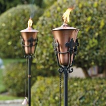 Set of Two Durable Metal Brass Finish Garden Tourch