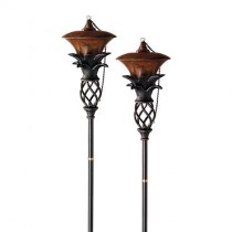 Set of Two Pineapple Design Garden Torches