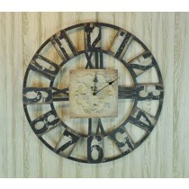 Shabby Chic Black Metal Wall Clock