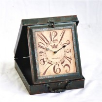 Shabby Chic Box Style Desk Metal Clock
