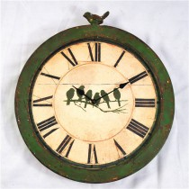 Shabby Chic Green Wall Metal Clock