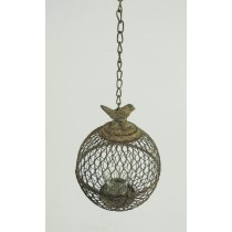 Shabby Chic Hanging Metal Cage Candle Holder