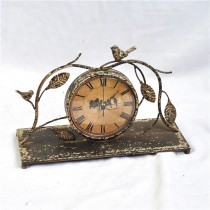 Shabby Chic Table Top Bird Design Metal Clock