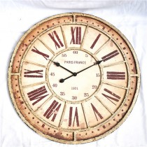 Shabby Chic White Round Metal Wall Clock