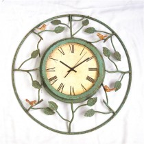 Shabby Green Bird & Leaf Carving Metal Wall Clock