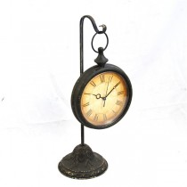 Shabby hanging Metal Desk Clock With Stand