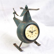 Shabby Helicopter Shape Table Top Metal Clock