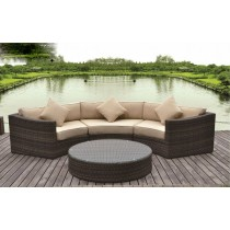 Shaded Brown PE Rattan Sofa Set