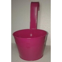 Shiny Pink 13 Inch Round Metal Pot With Handle