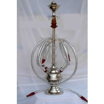 Silver Acrylic & Brass Hookah With 4 Silver Hose