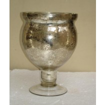 Silver Antique Mercury Glass Candle Holder