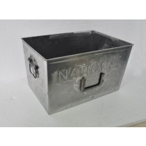 Silver Metal Rectangle Container With Handle