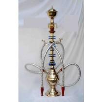 Silver Pair Hose & Shiny Brass & Acrylic Hookah
