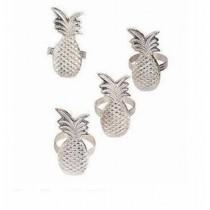 Silver Plated Pineapple Napkin Ring 4 Pcs Set