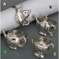 Silver Plated Teapot Napkin Ring 4 Pcs Set