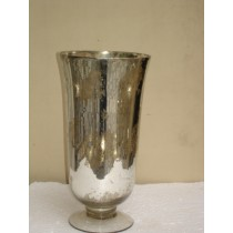 Silver Ribbed Mercury Glass Candle Holder