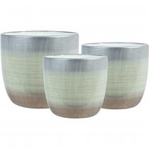 Silver Round Ceramic Planter Set of 3 Pcs