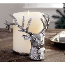 Silver Stag Pillar Aluminum Candle Holder