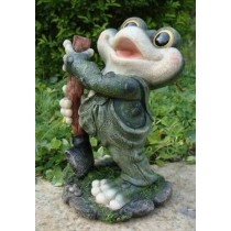Singing Frog With Garden Tool Sculpture