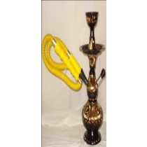 Single Hose Decorative Golden & Black Brass Hookah