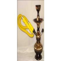 Single Hose Decorative Golden & Black Brass Hookah