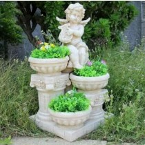 Sitting Angel With 3 Garden Flower Pot