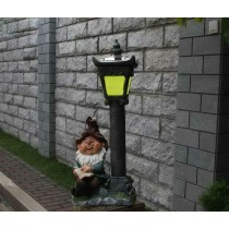 Sitting Garden Gnome With Solar Light Stand