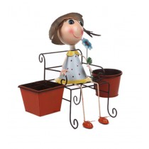 Sitting Girl With 16 Inch Brown Metal Pot