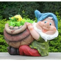 Sitting Gnome Holding Garden Flower Pot