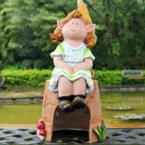 Sitting Green Girl Dress Garden Sculpture