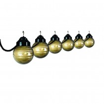 Six Globe Black and Etched Bronze String Light Set