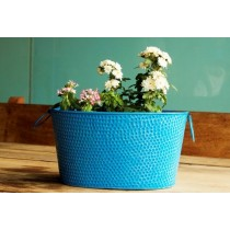 6.5'' Sky Blue Galvanized Metal Planter