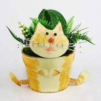 Small Cat Design 19 cm Metal Planter