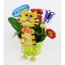 Small Cat Welcome Design 16 cm Metal Planter
