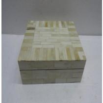 Small Cream Finish Wooden and Bone Jewellery Box