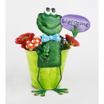 Small Frog Design 18 cm Metal Planter