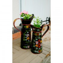 Small Size Jug Shaped Black Hand Painted Metal Planter